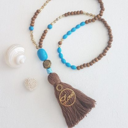 Love and Peace blue necklace